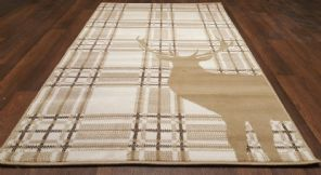 Modern Approx 5x3 80x150cm Woven Top Quality Stag check Beiges/Berber Rugs/Mats